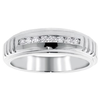 14k White Gold 1/3ct TDW Men's Diamond Channel Set Wedding Band