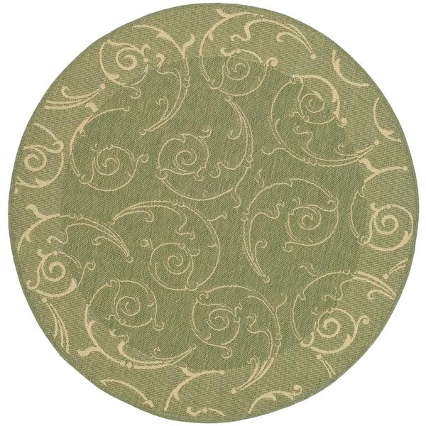 Safavieh Oasis Scrollwork Olive Green/ Natural Indoor/ Outdoor Rug (7' 10 Round)