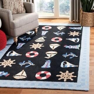 Safavieh Hand-made Chelsea Black Wool Rug (7'9 x 9'9)