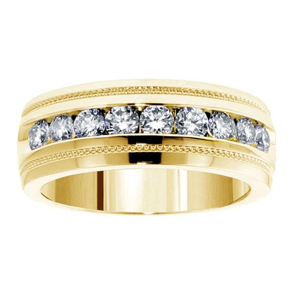 14k or 18k Yellow Gold 1 CT Brilliant Cut Diamond Men's Ring