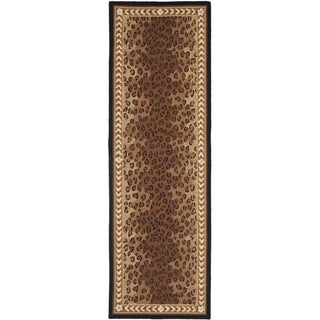 Safavieh Hand-made Chelsea Black/ Brown Wool Rug (2'6 x 16')