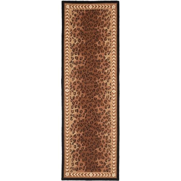 """Safavieh Hand-made Chelsea Black/ Brown Wool Rug - 2'6"""" x 16'"""