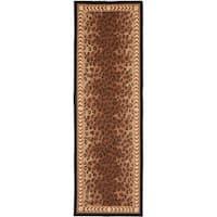 """Safavieh Hand-made Chelsea Black/ Brown Wool Rug - 2'6"""" x 18'"""