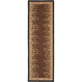 Safavieh Hand-made Chelsea Black/ Brown Wool Rug (2'6 x 22')