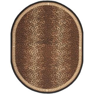 Safavieh Hand-made Chelsea Black/ Brown Wool Rug (4'6 x 6'6 Oval)