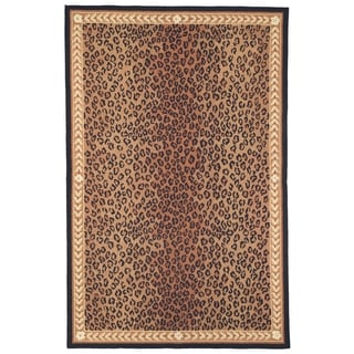 Safavieh Hand-made Chelsea Black/ Brown Wool Rug (7'9 x 9'9)