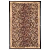 """Safavieh Hand-made Chelsea Black/ Brown Wool Rug - 7'9"""" x 9'9"""""""
