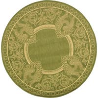 Safavieh Abaco Olive Green/ Natural Indoor/ Outdoor Rug (7' 10 Round)