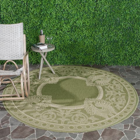 "Safavieh Courtyard Abaco Olive Green/ Natural Indoor/ Outdoor Rug - 7'10"" x 7'10"" Round"