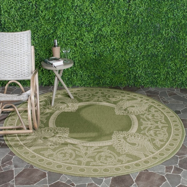 Round Outdoor Rugs For Patios: Shop Safavieh Abaco Olive Green/ Natural Indoor/ Outdoor