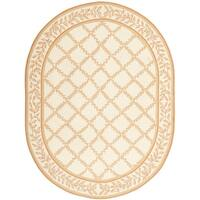 "Safavieh Hand-made Chelsea Ivory/ Camel Wool Rug - 4'6"" x 6'6"" oval"