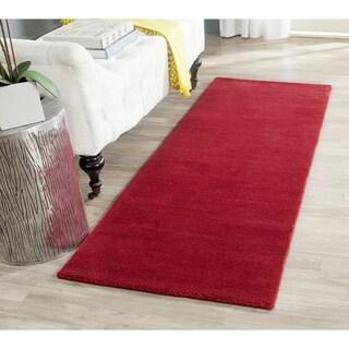 Safavieh Handmade Himalaya Solid Red Wool Runner Rug (2'3 x 6')