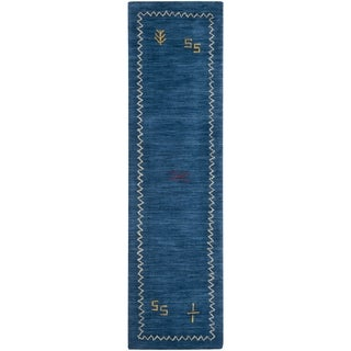 Safavieh Handmade Himalaya Blue Wool Gabbeh Runner Rug (2'3 x 6')