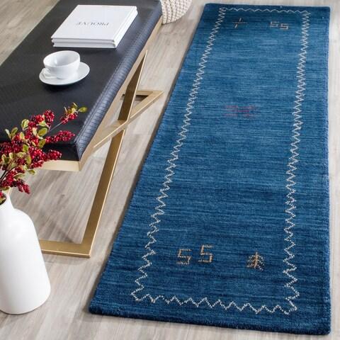 Safavieh Handmade Himalaya Blue Wool Gabbeh Runner Rug - 2'3 x 6'