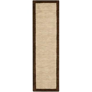 Safavieh Handmade Himalaya Beige/ Dark Brown Border Wool Runner Rug (2'3 x 6')
