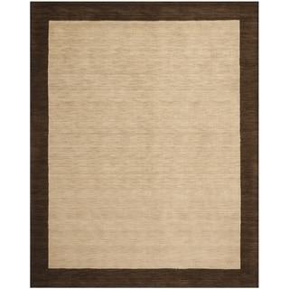 Safavieh Handmade Himalaya Beige/ Dark Brown Border Wool Area Rug (8'9 x 12')