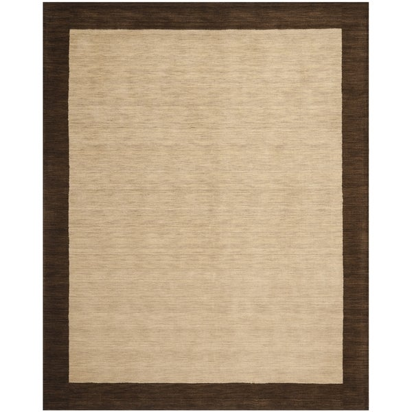 Safavieh Handmade Himalaya Beige/ Dark Brown Border Wool Area Rug (8u0026#x27;