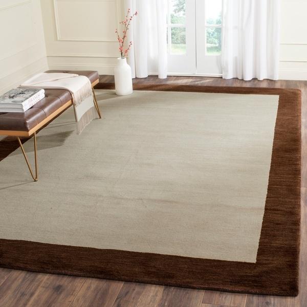 Safavieh Handmade Himalaya Beige/ Dark Brown Border Wool Area Rug - 8'9 x 12'