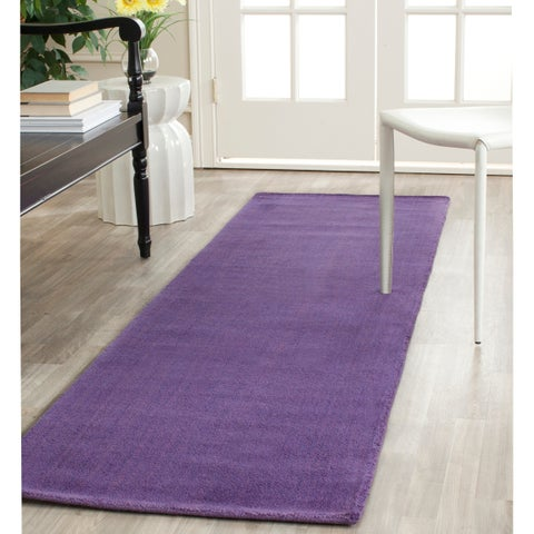 "Safavieh Handmade Himalaya Solid Purple Wool Runner Rug - 2'3"" x 12'"