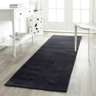 Safavieh Handmade Himalaya Solid Black Wool Runner Rug (2'3 x 10')