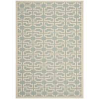 Safavieh Courtyard Geometric Blue/ Beige Indoor/ Outdoor Rug - 6' 7 x 9' 6