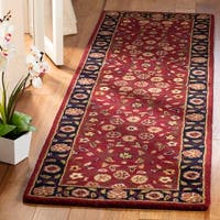 "Safavieh Handmade Heritage Timeless Traditional Red/ Navy Wool Rug - 2'3"" x 14'"