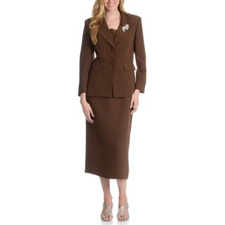 Giovanna Signature Women's Washable 2-button Mock 3-piece Skirt Suit (Option: 16)