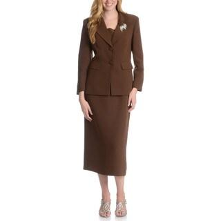 Giovanna Signature Women's Washable 2-button Mock 3-piece Skirt Suit (Option: 18)