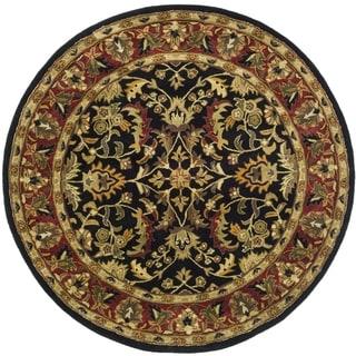 Safavieh Handmade Heritage Timeless Traditional Black/ Red Wool Rug (10' Round)