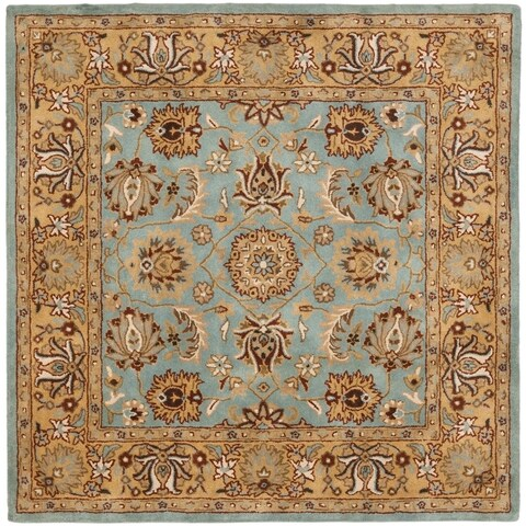 Safavieh Handmade Heritage Timeless Traditional Blue/ Gold Wool Rug - 10' x 10' Square