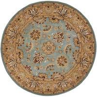 Safavieh Handmade Heritage Timeless Traditional Blue/ Gold Wool Rug - 10' x 10' round