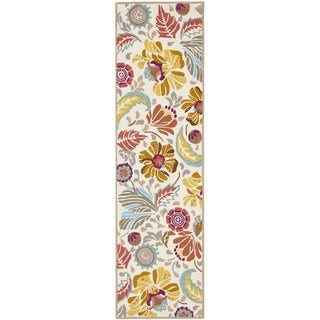 Safavieh Hand-Hooked Four Seasons Floral Ivory / Grey Polyester Runner (2'3 x 6')