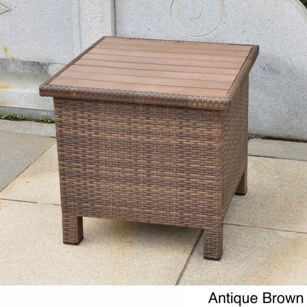 International Caravan Barcelona Contemporary Resin Wicker Aluminum Outdoor Storage Side Table