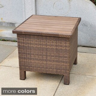 International Caravan Barcelona Contemporary Resin Wicker/Aluminum Outdoor Storage Side Table