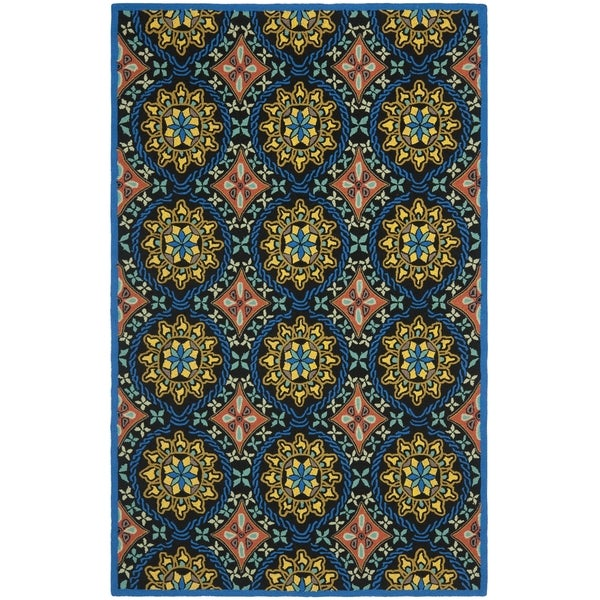 Safavieh Hand-Hooked Four Seasons Black/ Blue Polyester Rug - 8' x 10'