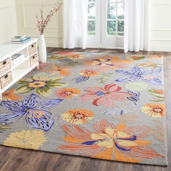 Safavieh Hand-Hooked Four Seasons Grey / Orange Polyester Rug - 8' x 10'