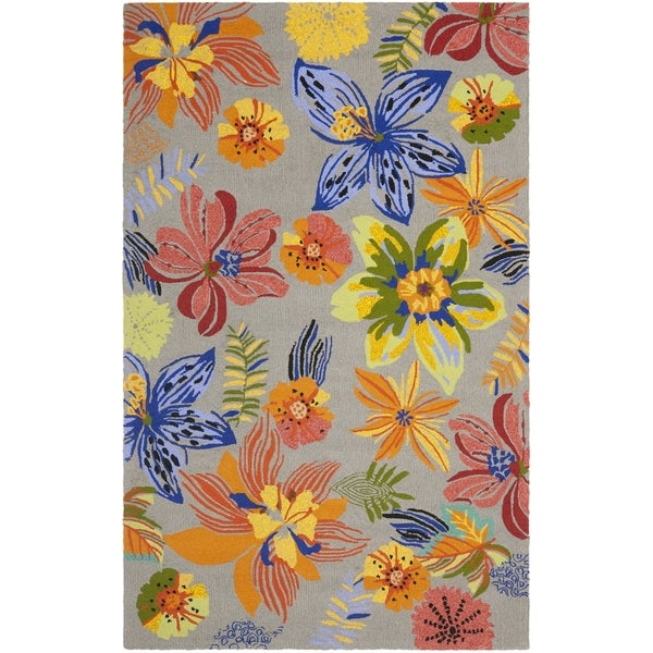 Safavieh Hand-Hooked Four Seasons Grey / Orange Polyester Rug (8' x 10')