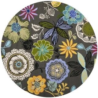 Safavieh Hand-hooked Indoor/ Outdoor Four Seasons Grey Rug (4' Round)