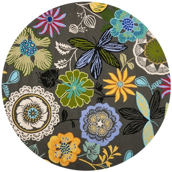 Safavieh Hand-Hooked Four Seasons Grey / Multicolored Rug - 4' x 4' Round