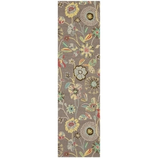 Safavieh Hand-Hooked Four Seasons Floral Grey / Blue Polyester Runner (2'3 x 6')