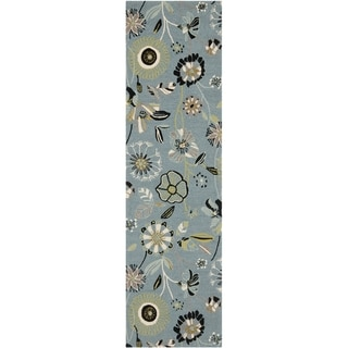 Safavieh Hand-hooked Indoor/ Outdoor Four Seasons Blue Rug (2'3 x 6')