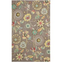 Safavieh Hand-Hooked Four Seasons Floral Grey / Blue Polyester Rug - 8' X 10'