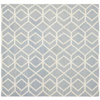 Safavieh Hand-woven Moroccan Reversible Dhurrie Blue/ Ivory Wool Rug - 8' Square