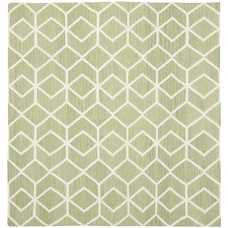 Safavieh Hand-woven Moroccan Reversible Dhurrie Sage/ Ivory Wool Rug (8' Square)