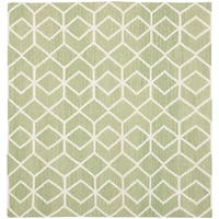 Safavieh Hand-woven Moroccan Reversible Dhurrie Sage/ Ivory Wool Rug - 8' Square