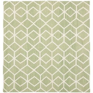 Safavieh Hand-woven Moroccan Reversible Dhurrie Sage/ Ivory Wool Rug - 8' x 8' Square