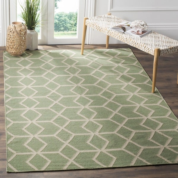 Safavieh Hand-woven Moroccan Reversible Dhurrie Sage/ Ivory Wool Rug - 9' x 12'