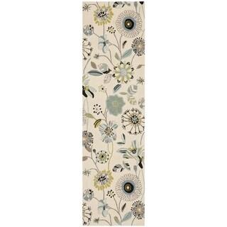 Safavieh Hand-hooked Indoor/ Outdoor Four Seasons Ivory/ Blue Rug (2'3 x 6')