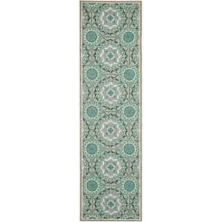 Safavieh Hand-hooked Indoor/ Outdoor Four Seasons Mint/ Aqua Rug (2'3 x 6')