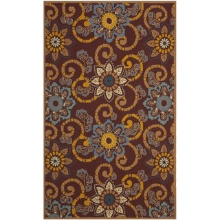 Safavieh Hand-Hooked Four Seasons Floral Scrollwork Burgundy Rug (4' x 6')